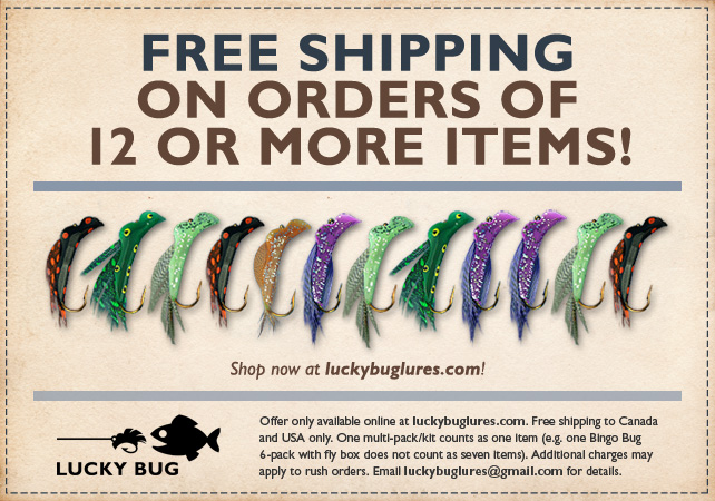 Free shipping on orders of 12 or more Lucky Bug Lure items!